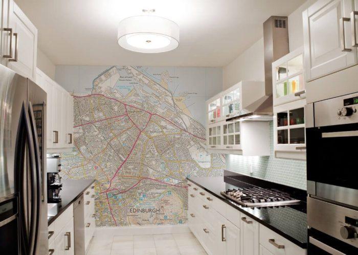 Custome Bespoke Printed Kitchen Map Wallpaper